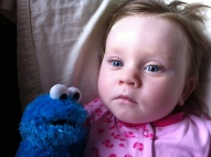 Lauren and Cookie Monster - This is as close as we got to a smile this week